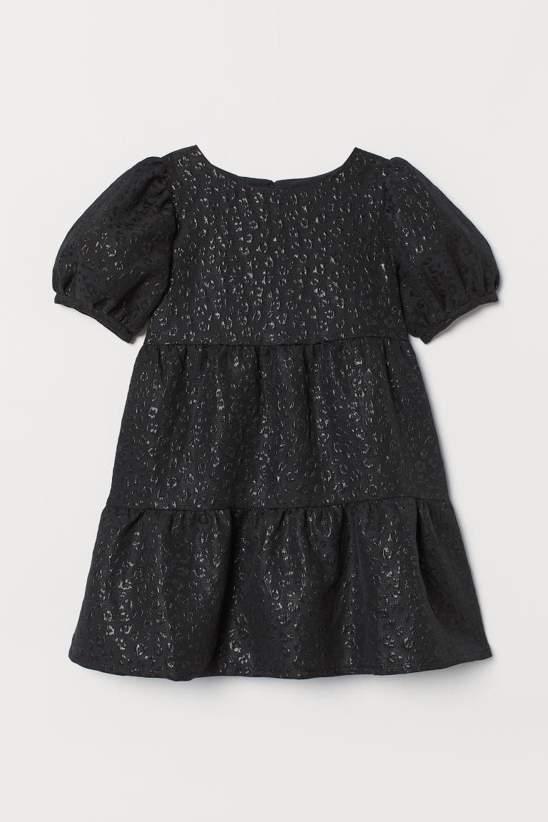 H & M - 公主袖錦緞花紋洋裝 - 黑色