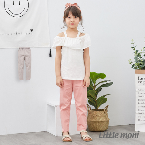 Little moni 休閒開岔彈性合身九分褲(灰色)