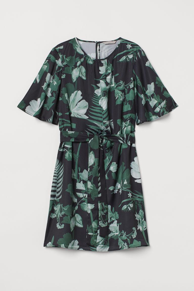 H & M - 綁帶綢緞洋裝 - 黑色