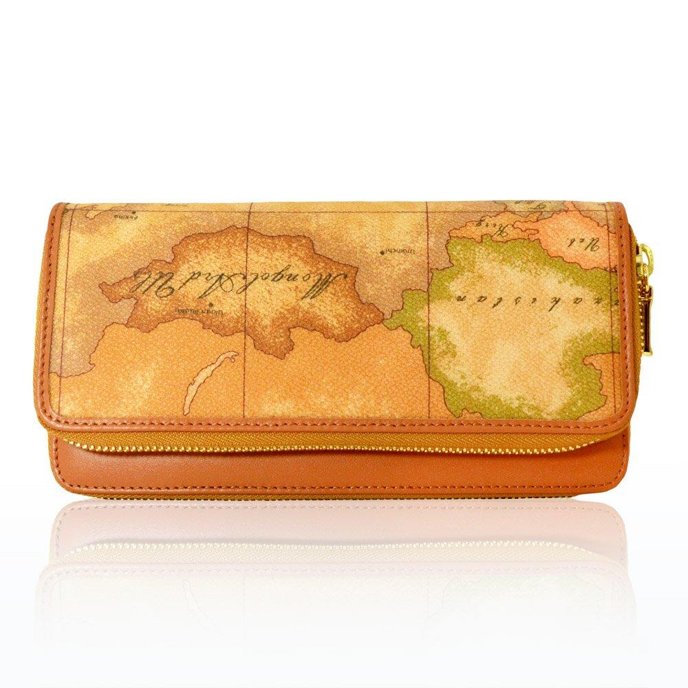 【Alviero Martini 義大利地圖包】雙拉鍊零錢長夾-地圖黃