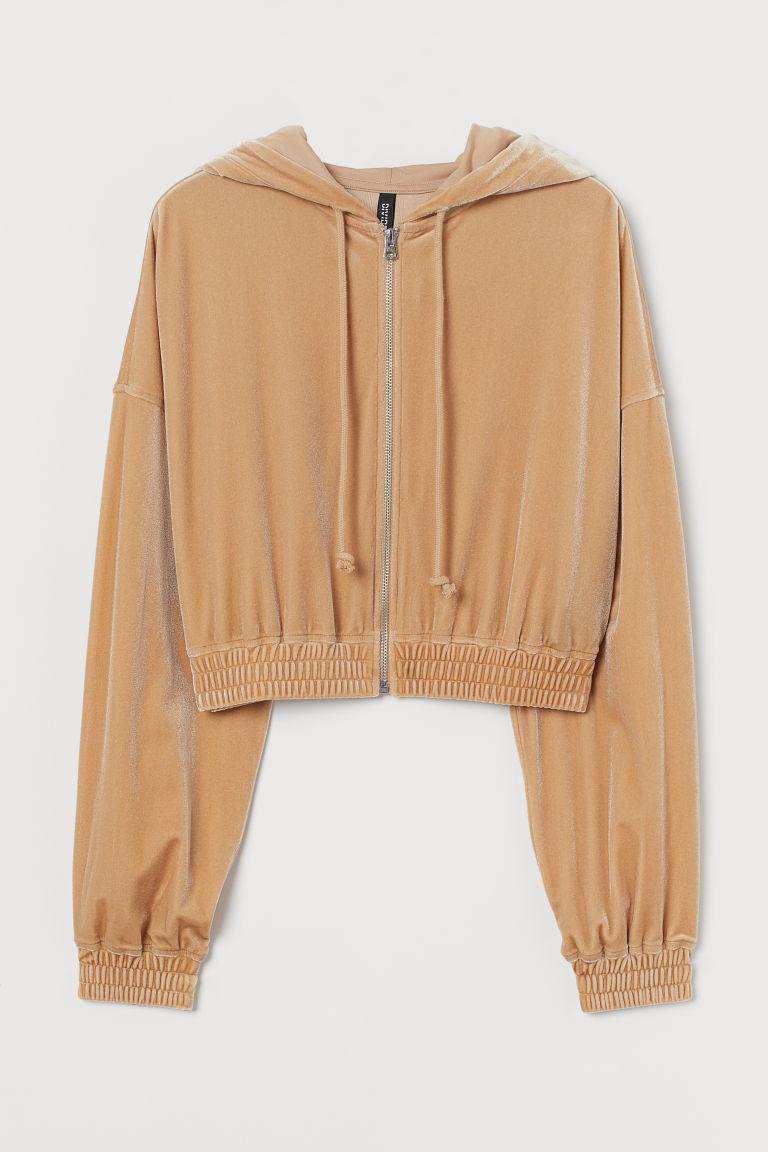 H & M - 短版拉鍊連帽外套 - 米黃色