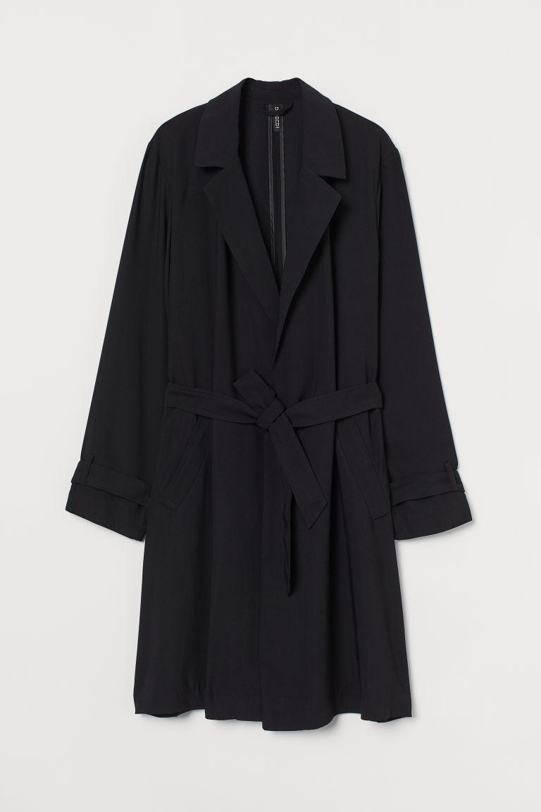 H & M - 輕薄大衣 - 黑色