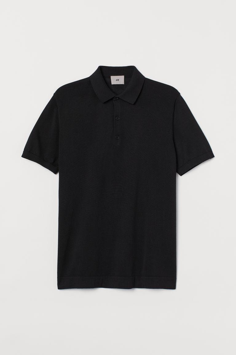 H & M - 真絲混紡Polo衫 - 黑色