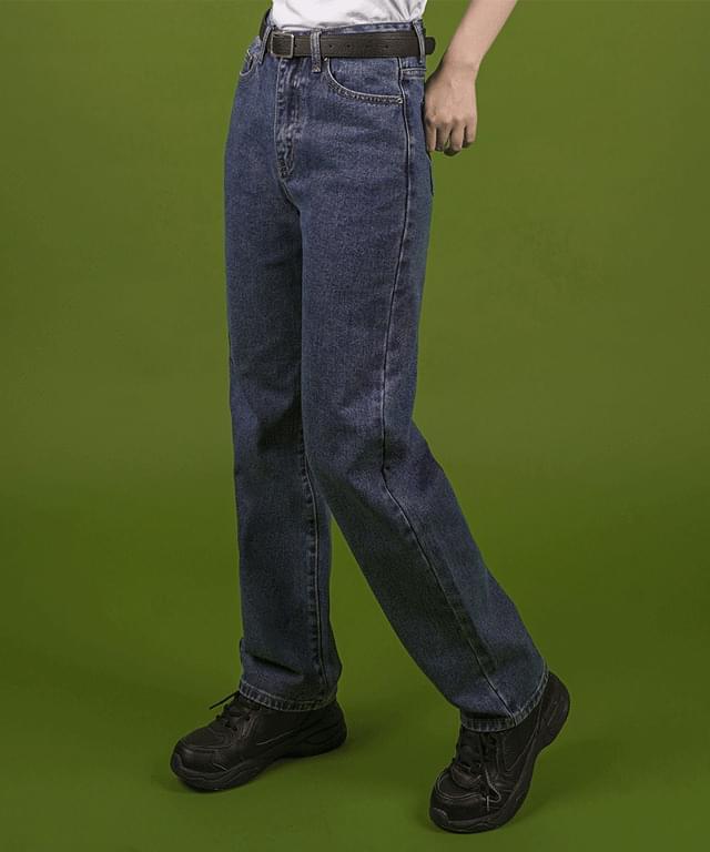 韓國空運 - Dark Blue Boy Fit Denim Pants 牛仔褲