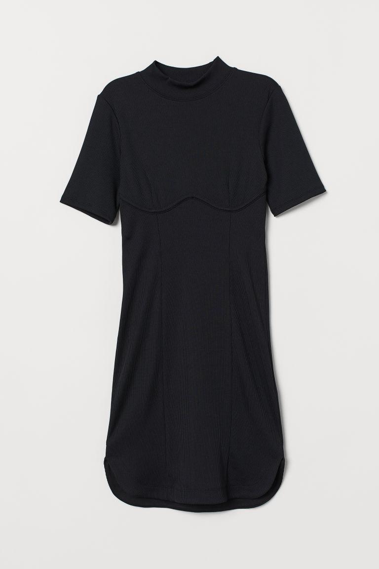 H & M - 羅紋曲線洋裝 - 黑色