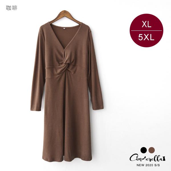 【ENW040811】210115V領扭結素面洋裝 黑/咖啡 XL-5XL (預購)