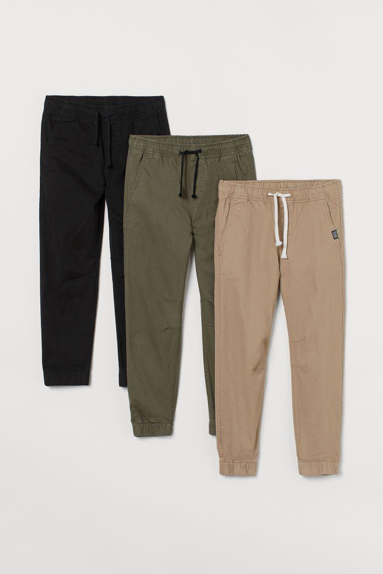 H & M - 3件入斜紋慢跑褲 - 黑色