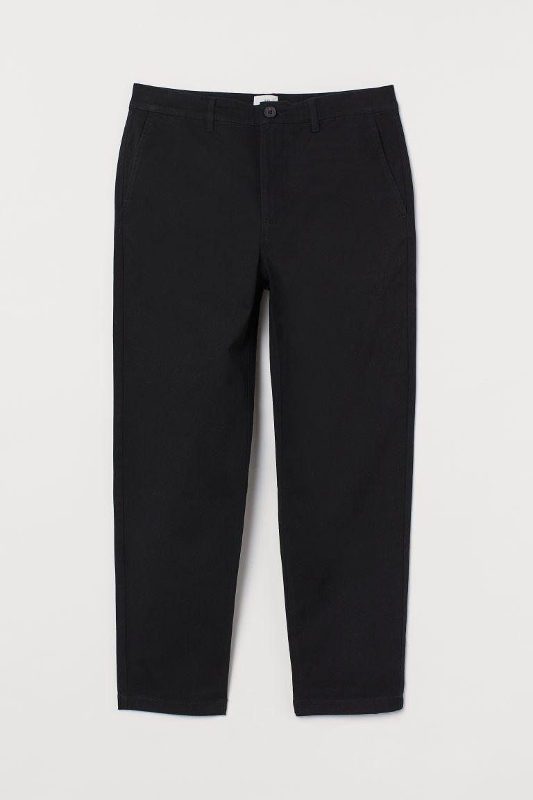 H & M - 貼身九分卡其褲 - 黑色
