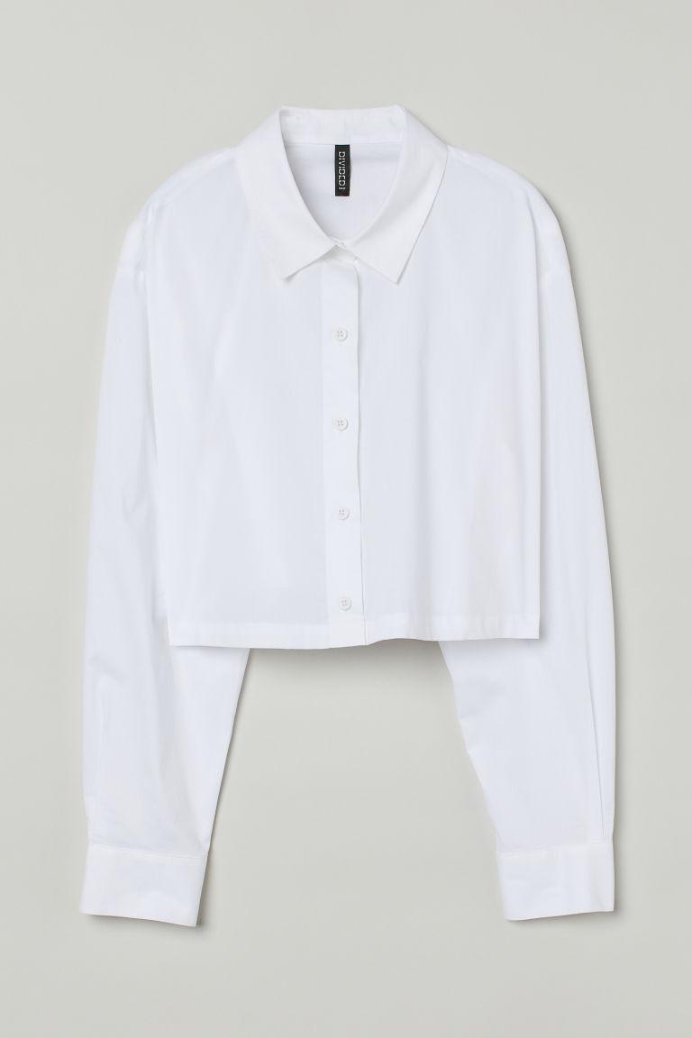 H & M - 短版棉質襯衫 - 白色