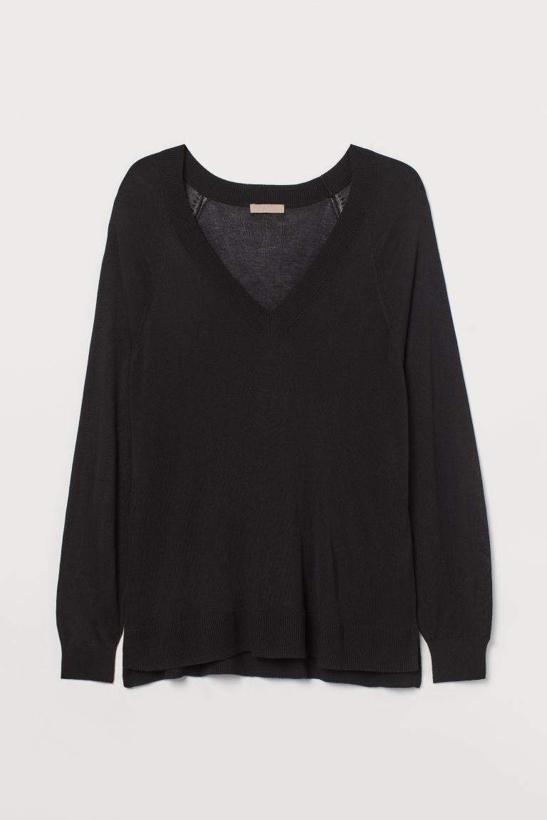 H & M - H & M+ V領上衣 - 黑色