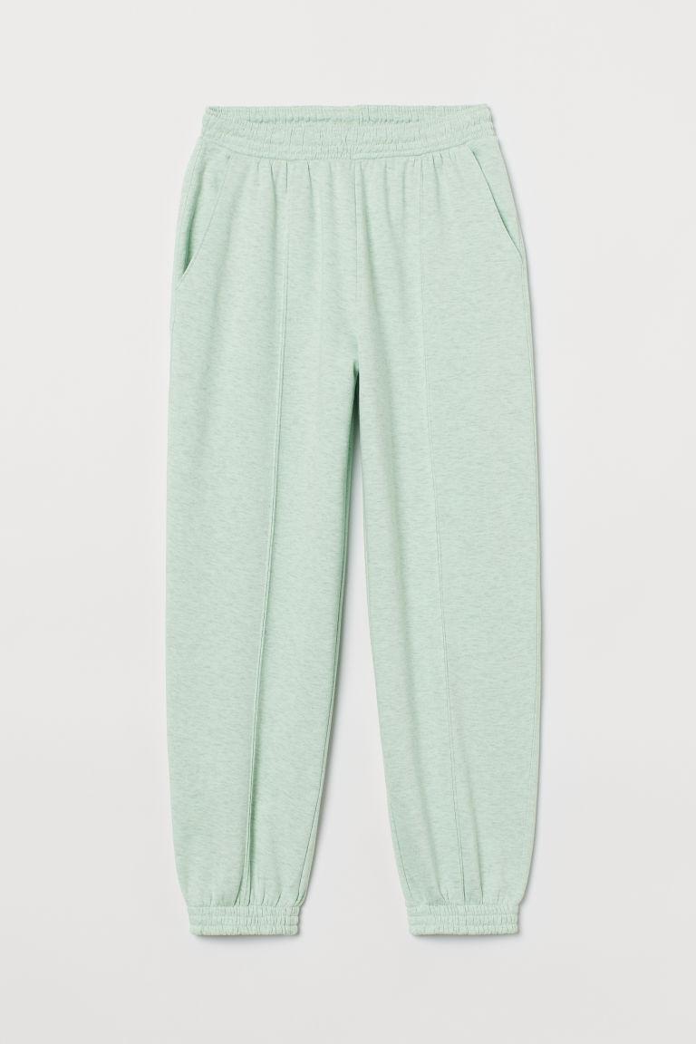 H & M - 高腰慢跑褲 - 綠色