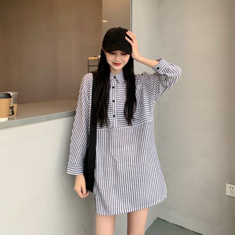 IELGY 夏季2021年新款寬松條紋設計感小眾法式裙子中長款復古連衣裙仙