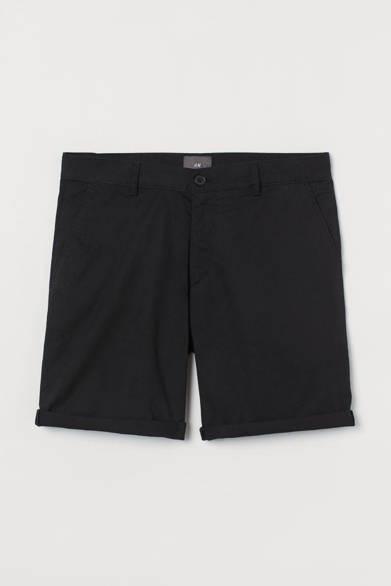H & M - 貼身卡其短褲 - 黑色
