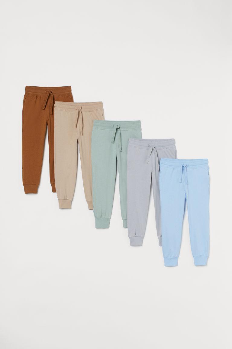 H & M - 5件入棉質平紋慢跑褲 - 灰色