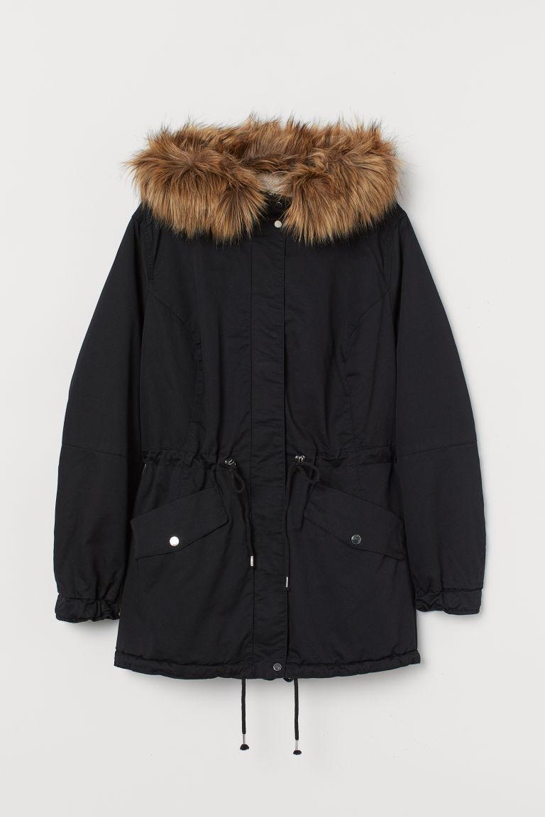 H & M - H & M+ 厚絨毛內裡軍外套 - 黑色