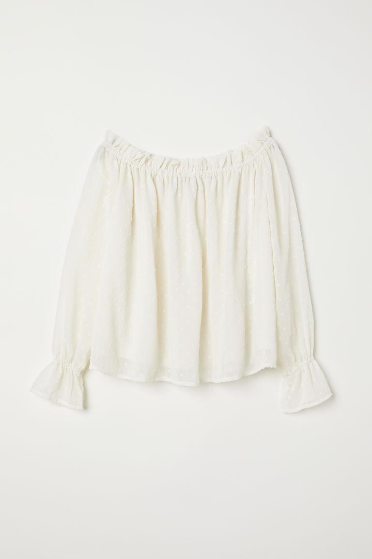 H & M - 露肩女衫 - 白色