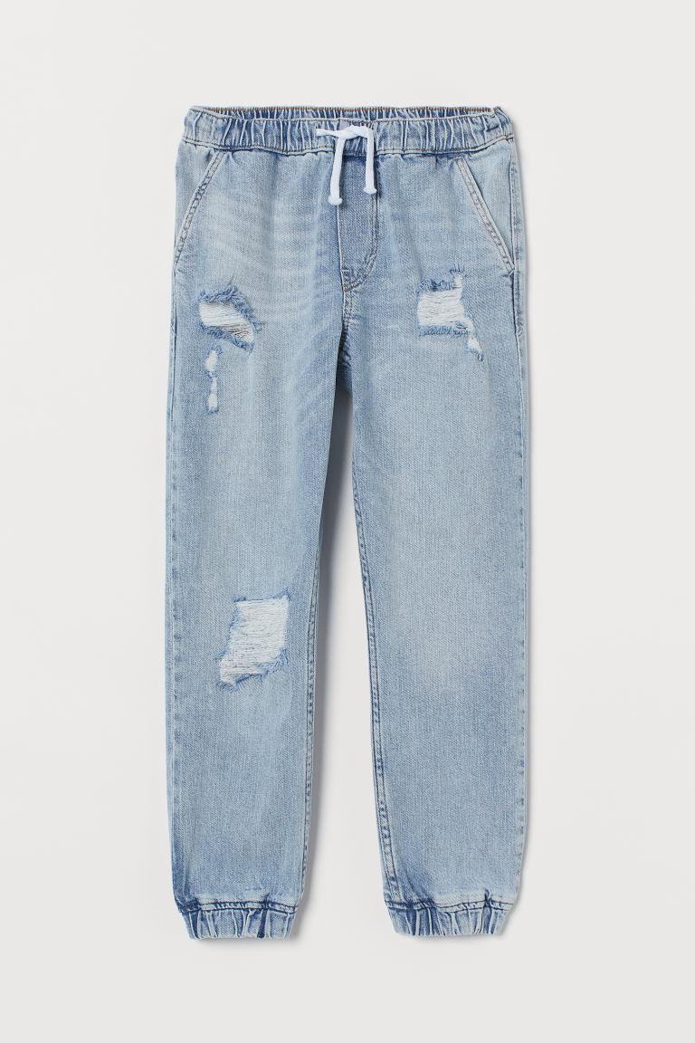H & M - 舒適彈性丹寧慢跑褲 - 藍色