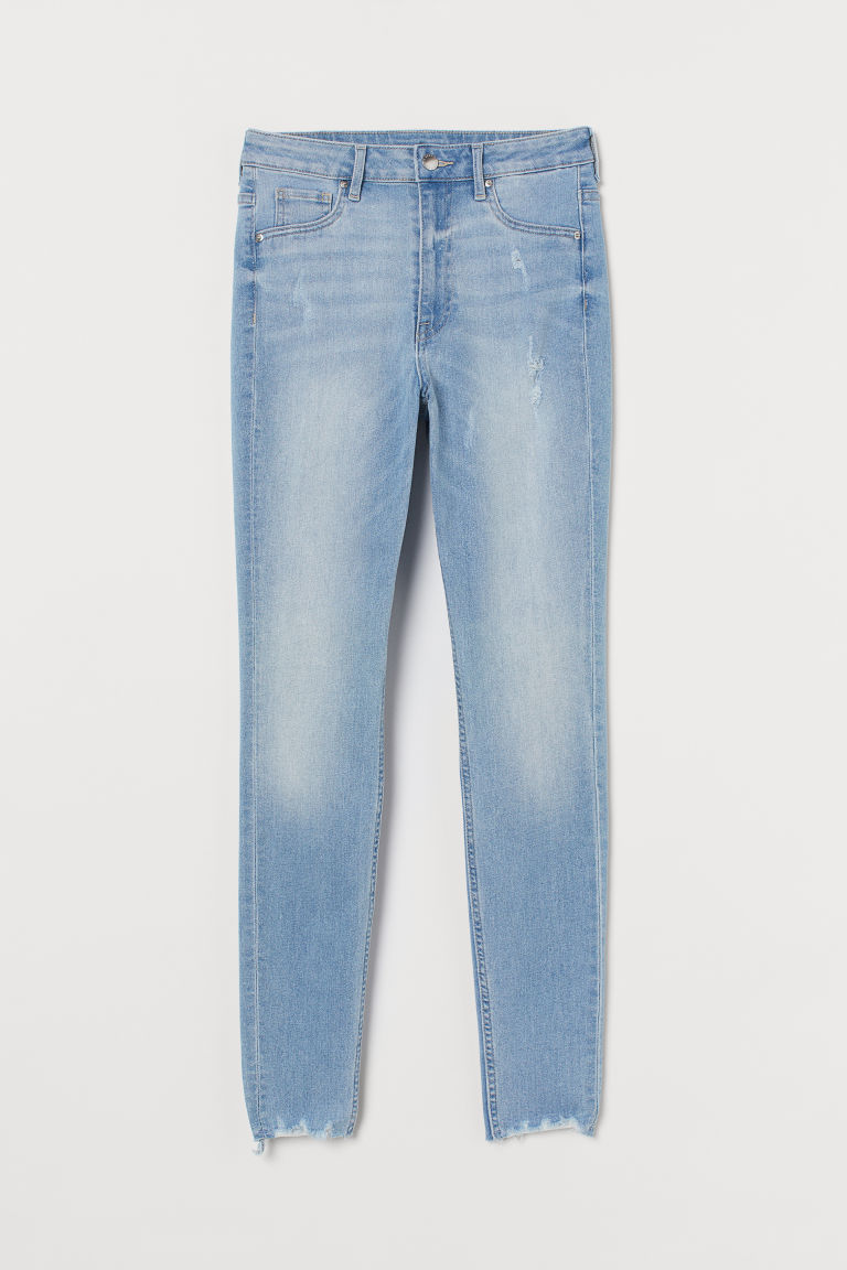 H & M - 曲線高腰牛仔內搭褲 - 藍色