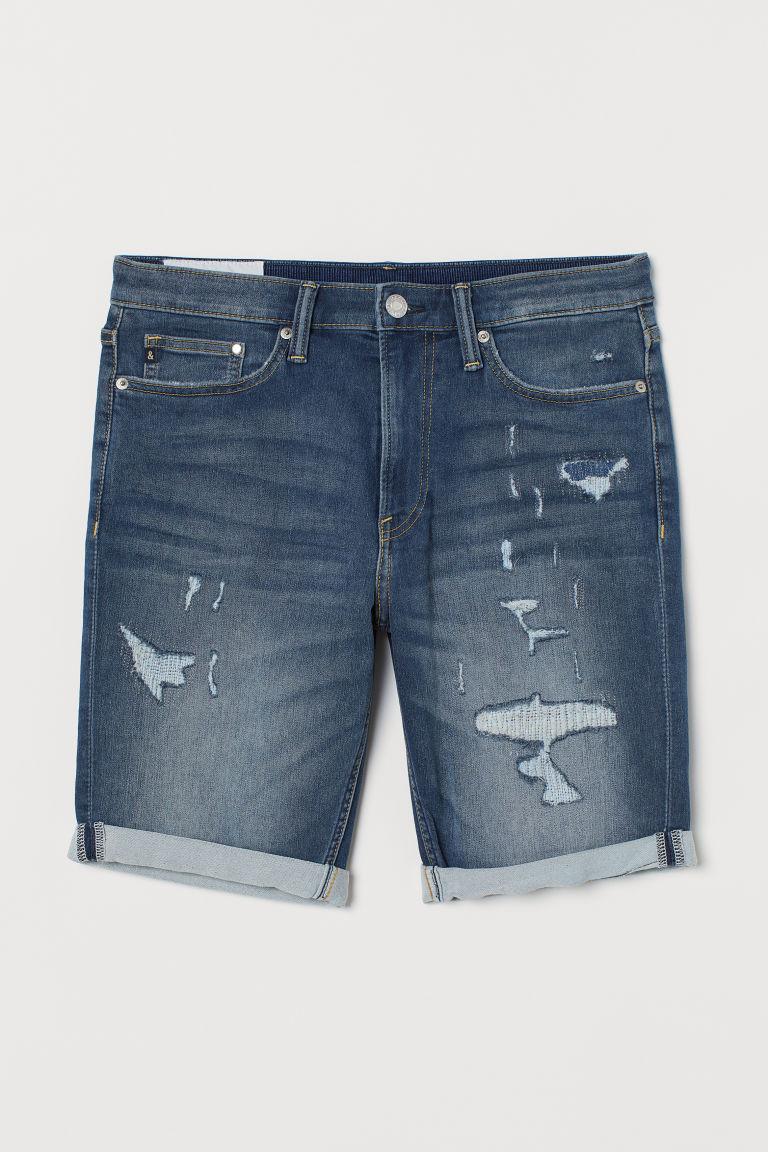 H & M - 貼身丹寧短褲 - 藍色