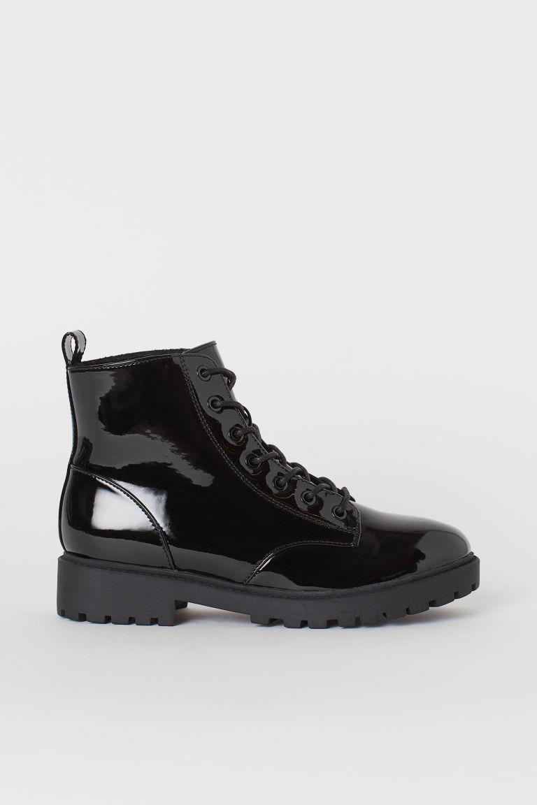 H & M - 厚絨毛內裡靴 - 黑色