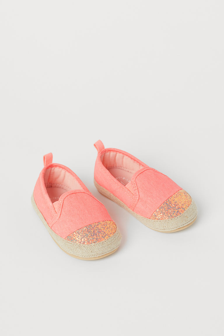 H & M - 金蔥草編鞋 - 粉紅色