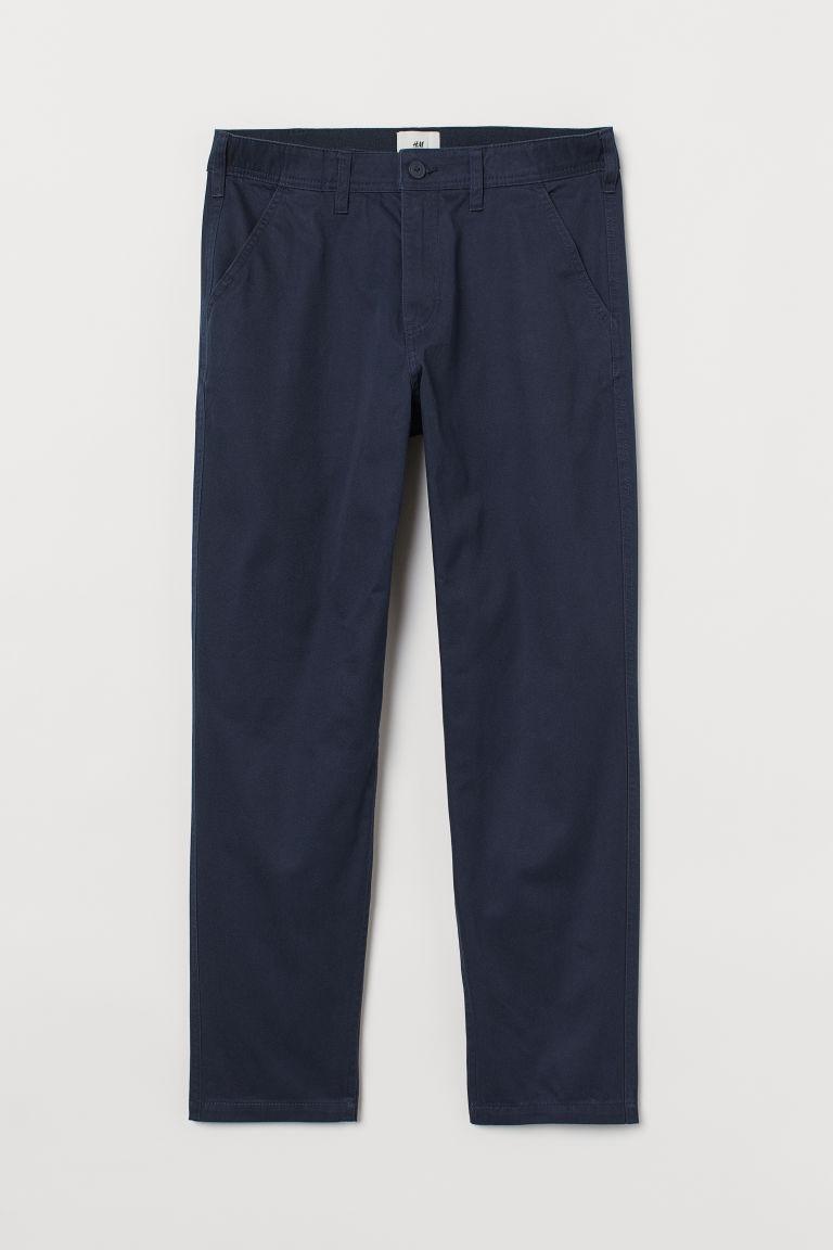 H & M - 合身卡其褲 - 藍色