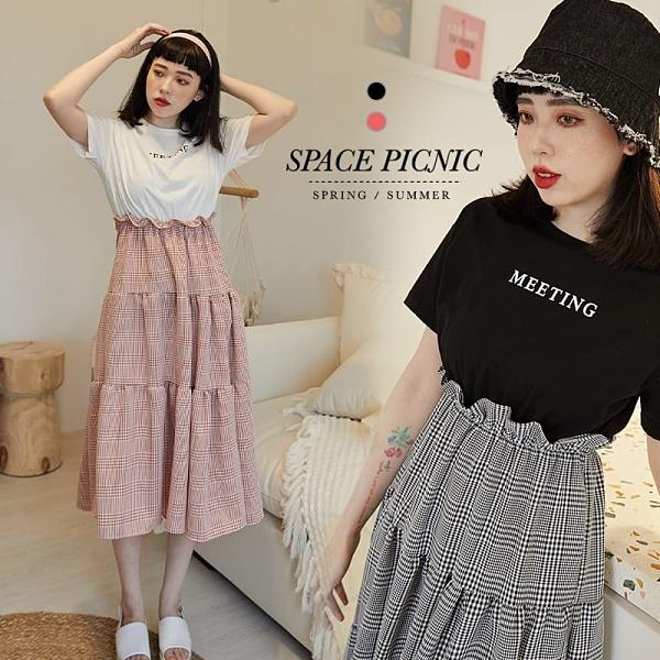 洋裝 Space Picnic|現+預.假兩件格紋裙洋裝【C21031046】