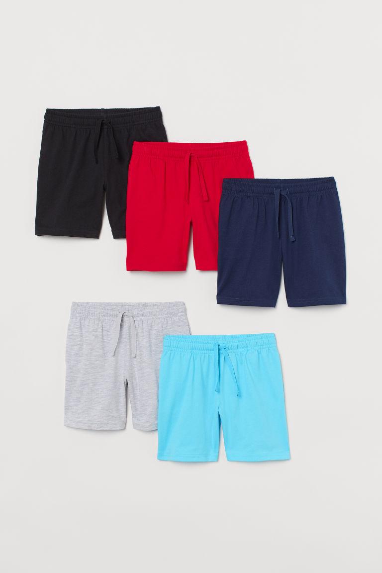 H & M - 5件入棉質平紋短褲 - 藍綠色
