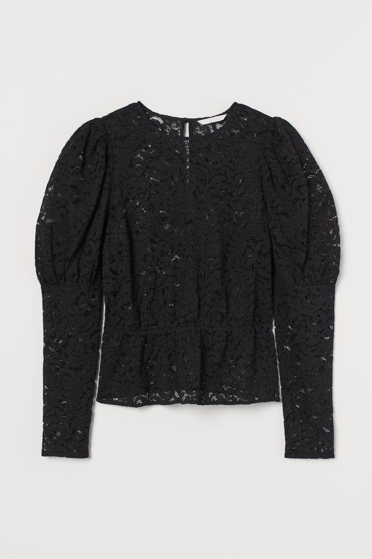 H & M - 蕾絲女衫 - 黑色