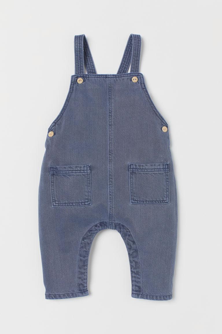 H & M - 萊賽爾混紡吊帶褲 - 藍色
