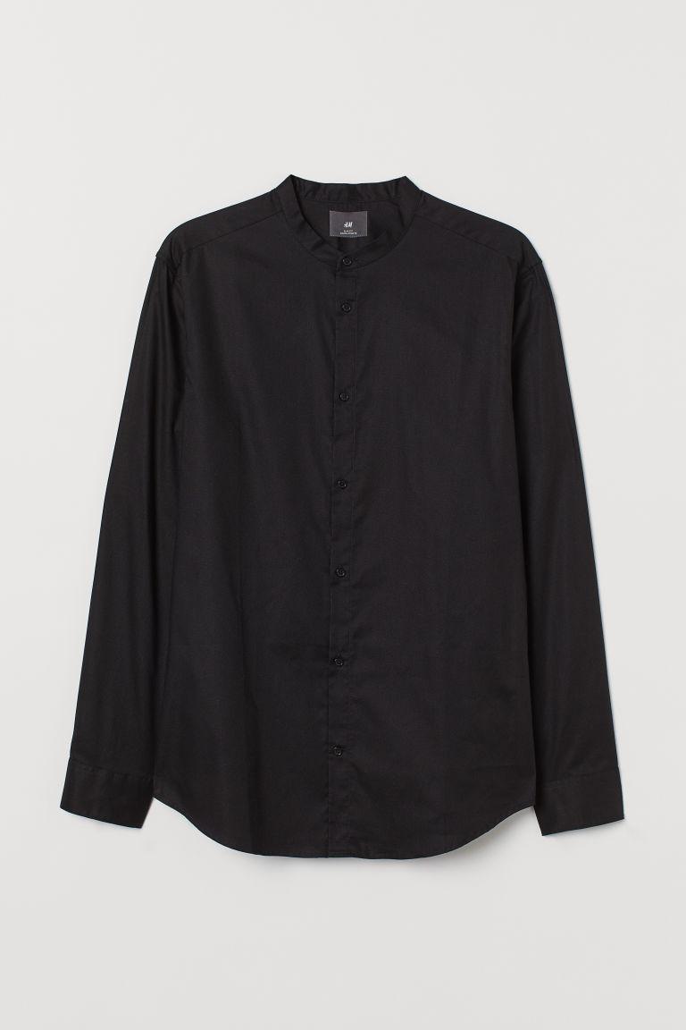 H & M - 貼身祖父領襯衫 - 黑色