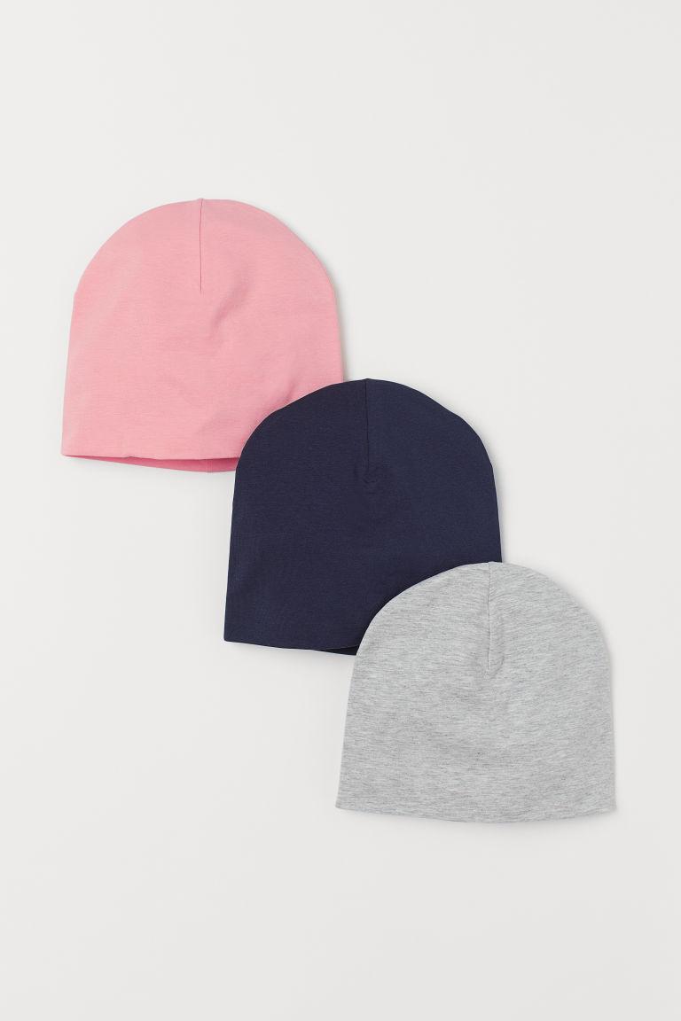 H & M - 3入裝平紋帽 - 藍色