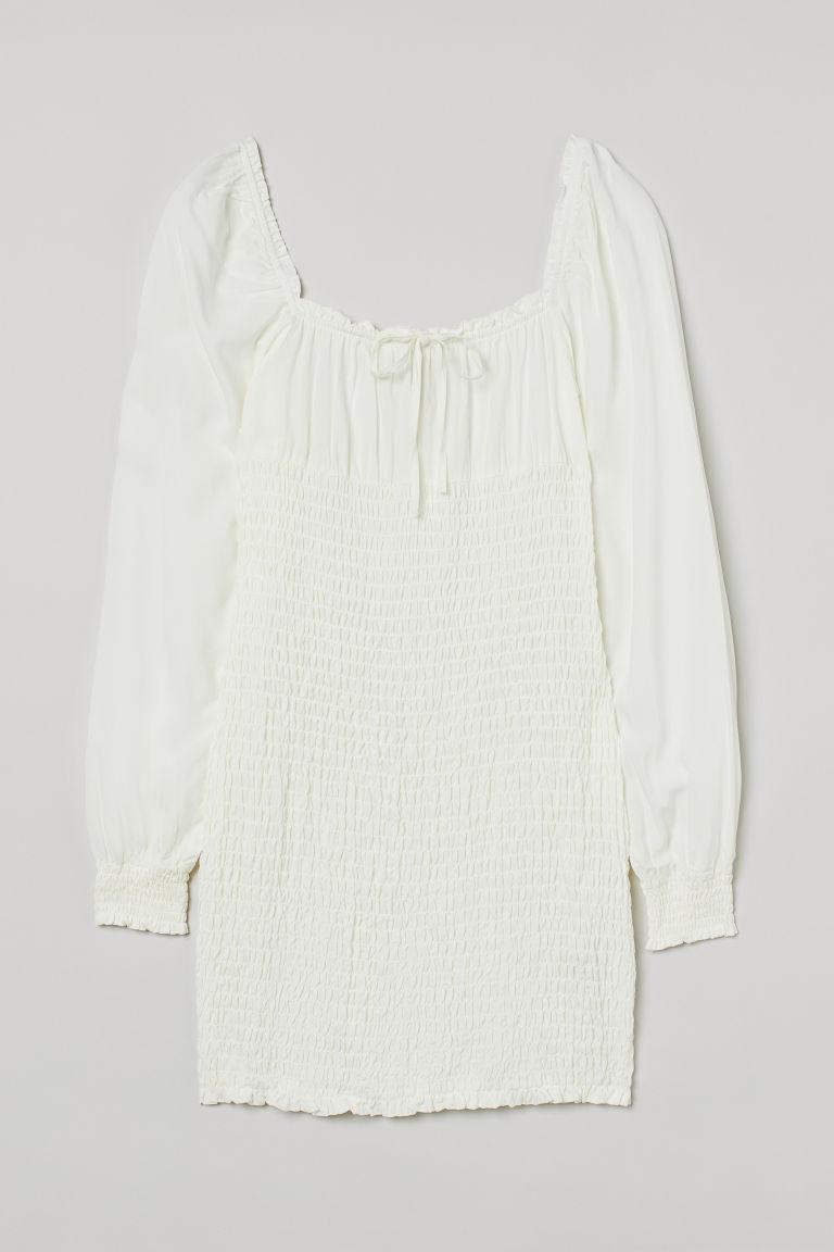 H & M - 縮褶洋裝 - 白色