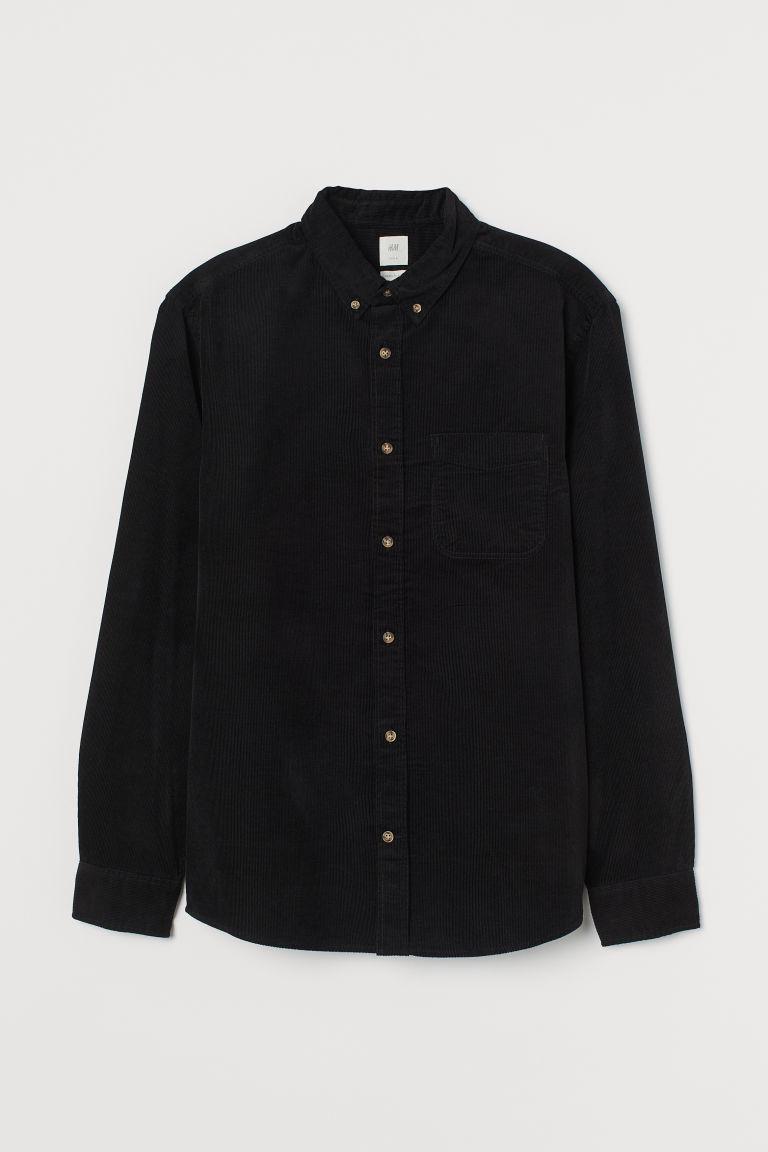 H & M - 標準剪裁絨布襯衫 - 黑色