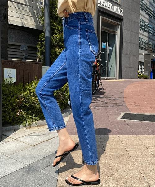 韓國空運 - Red Tag Nan Spandex High Waist Straight Jeans 牛仔褲