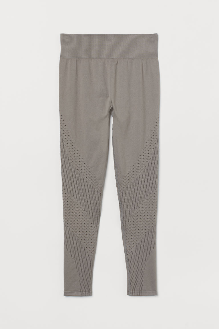 H & M - 高腰無痕緊身褲 - 灰色