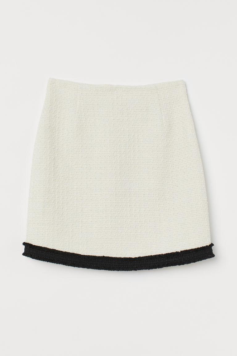 H & M - 紋理感平織裙 - 白色