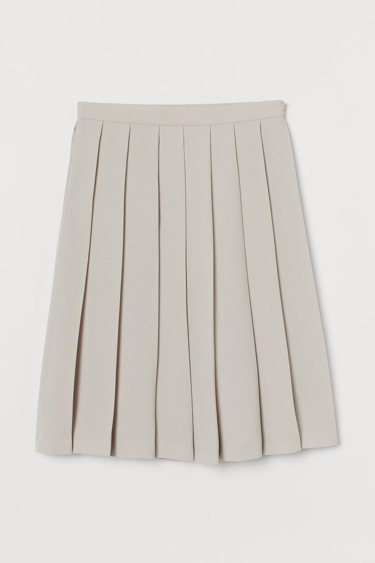 H & M - 百褶裙 - 米黃色