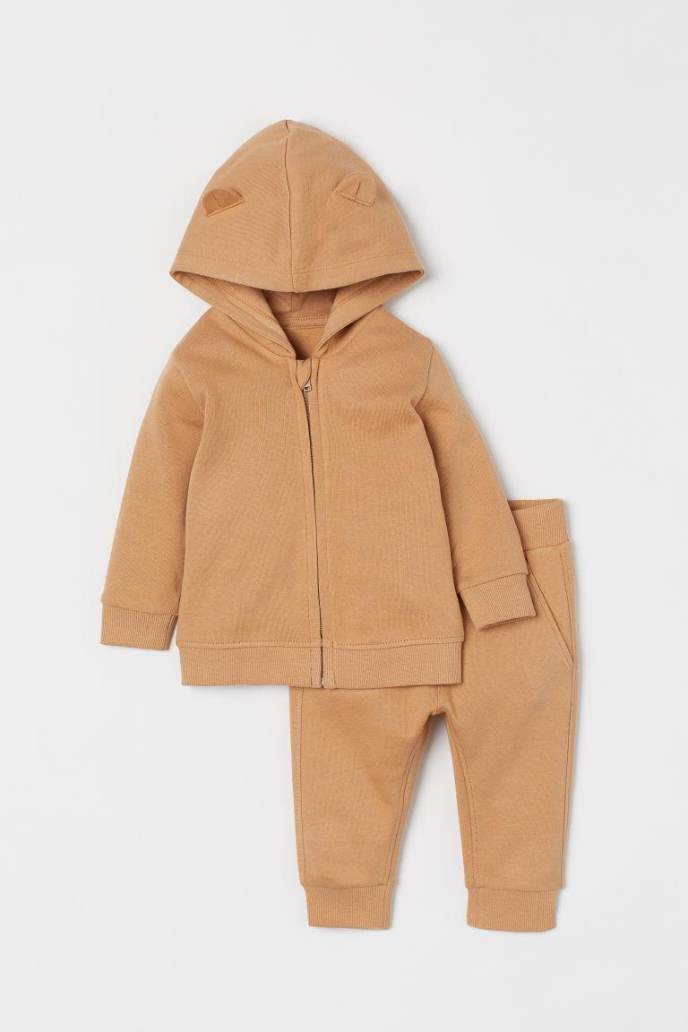 H & M - 棉質2件組套裝 - 米黃色