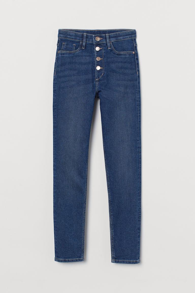 H & M - 窄管高腰牛仔褲 - 藍色