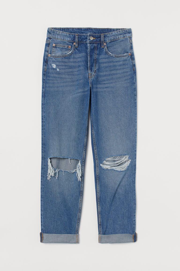 H & M - 男友中腰牛仔褲 - 藍色