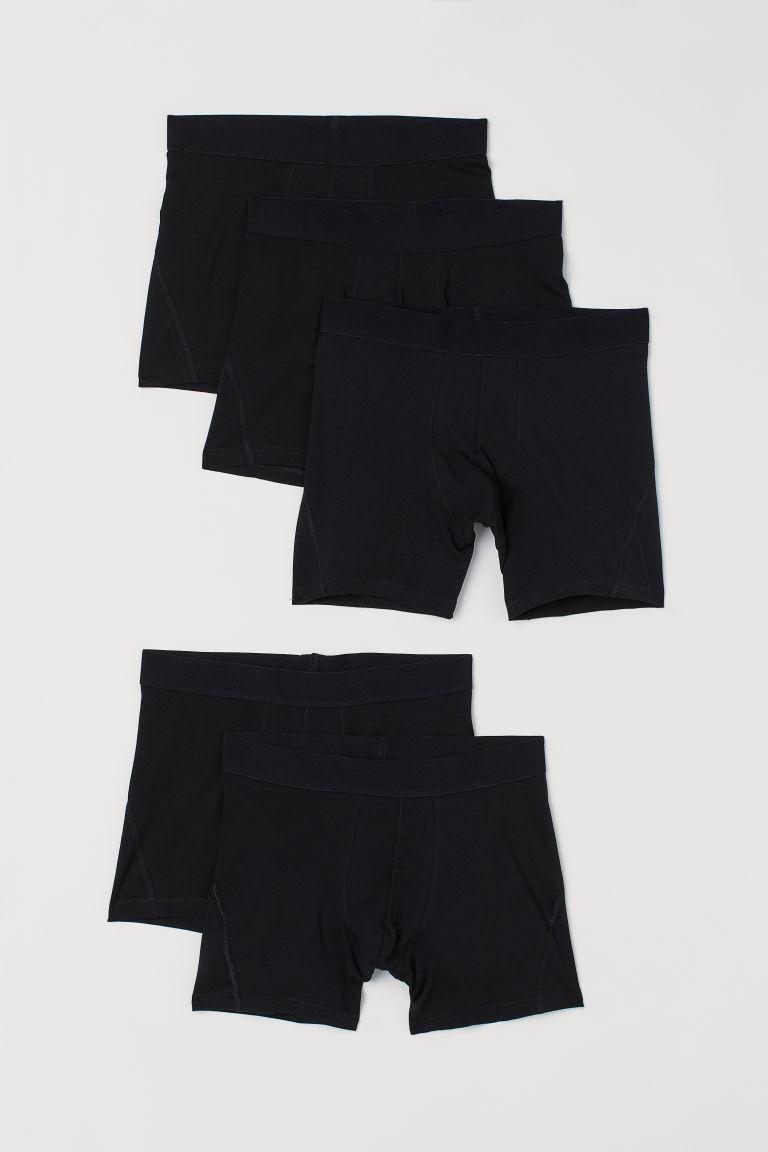 H & M - 5件入中版四角褲 - 黑色