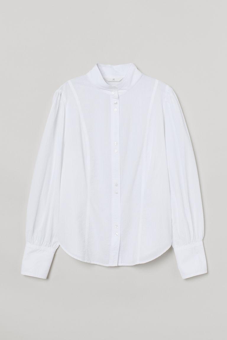 H & M - 泡泡紗女衫 - 白色