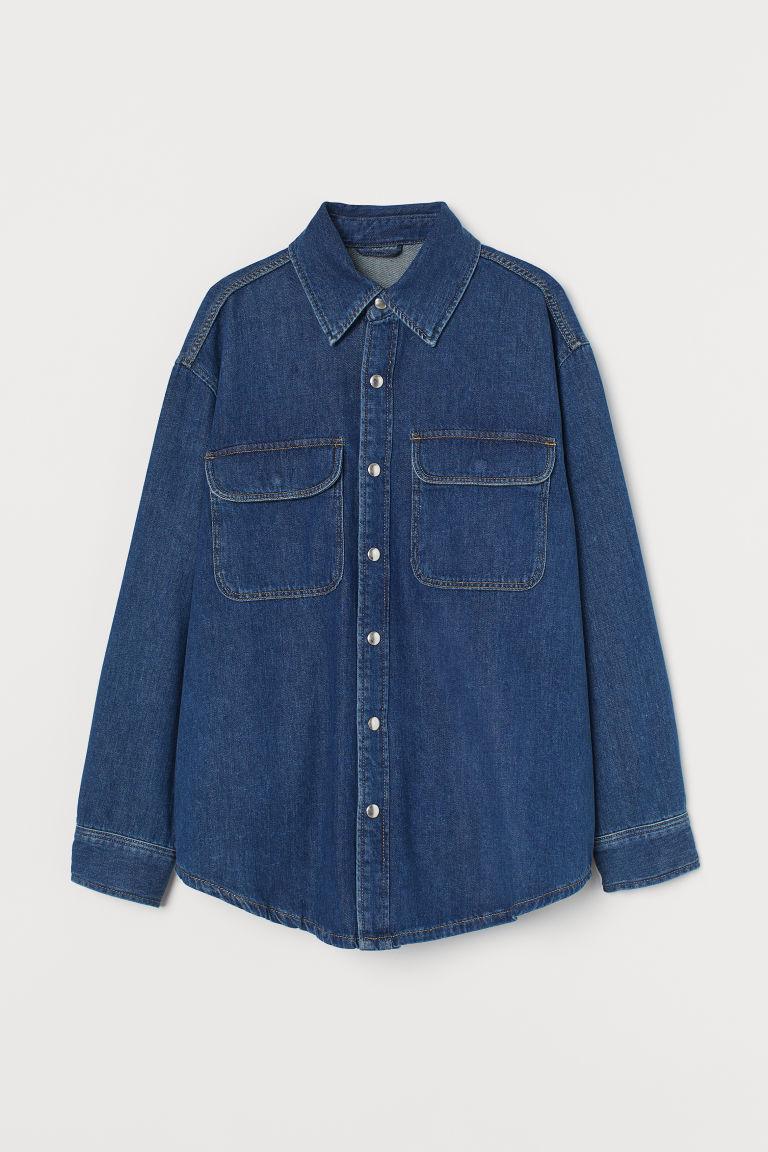 H & M - 丹寧襯衫式外套 - 藍色