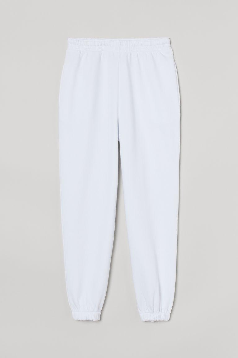 H & M - 慢跑褲 - 白色