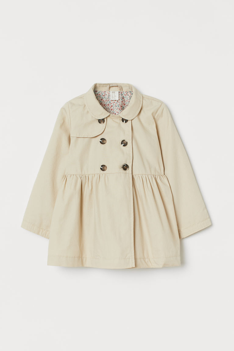 H & M - 棉質風衣 - 米黃色