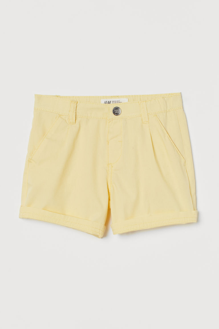 H & M - 棉質短褲 - 黃色