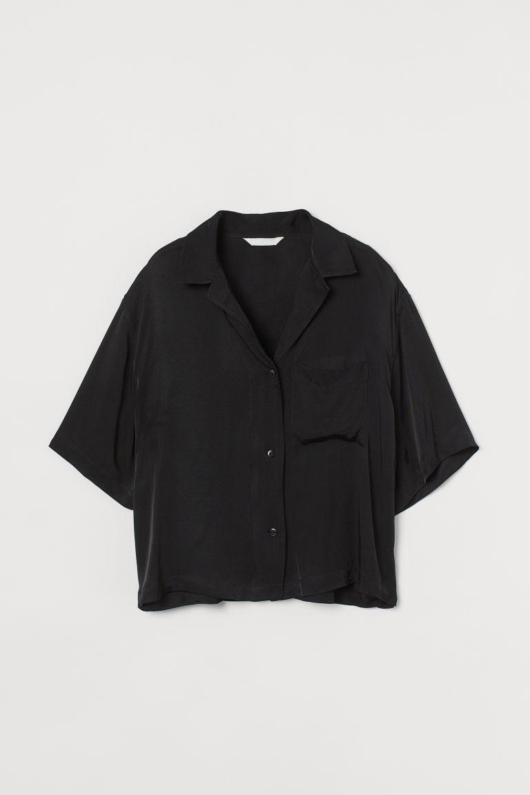 H & M - 豐盈感休閒襯衫 - 黑色
