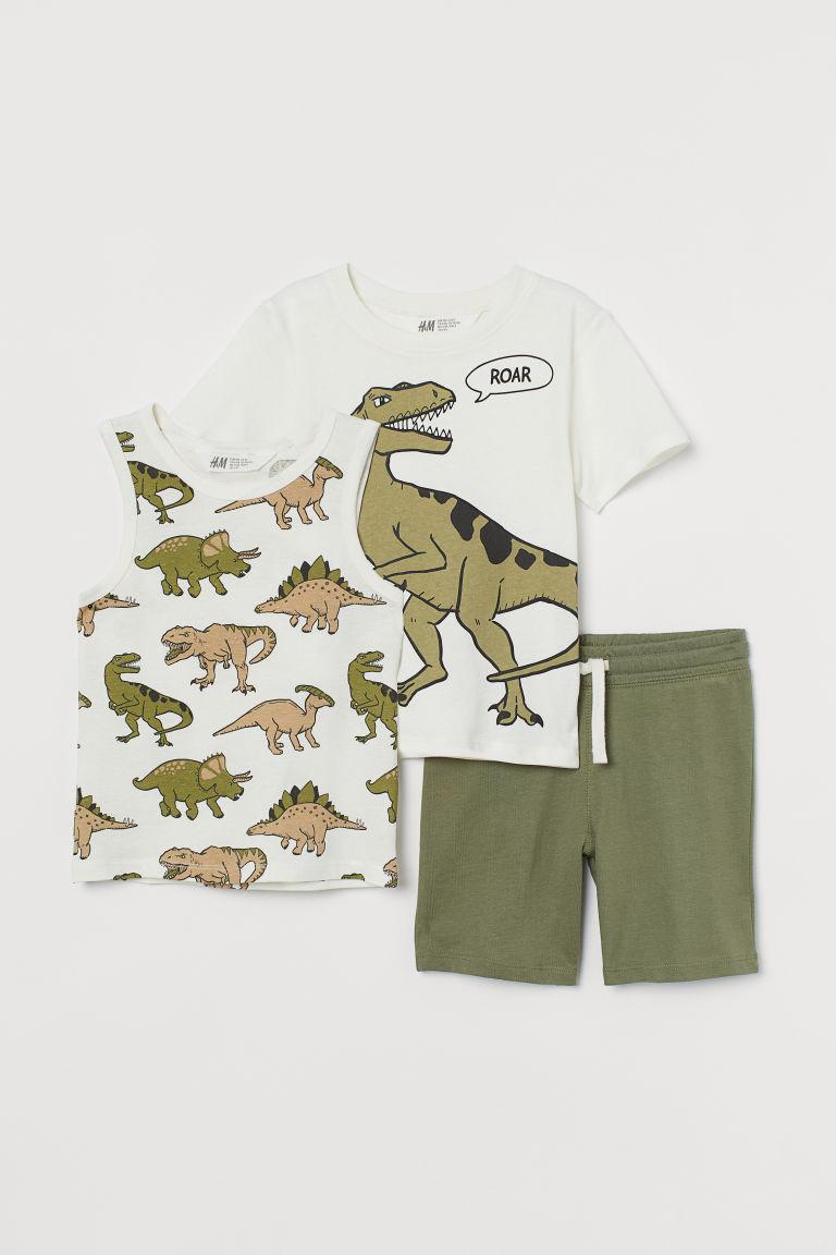 H & M - 平紋3件組圖案套裝 - 綠色