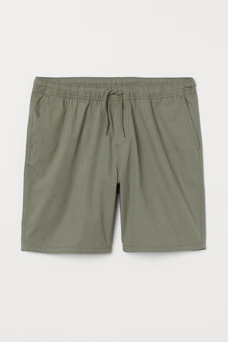 H & M - 標準剪裁棉質短褲 - 綠色